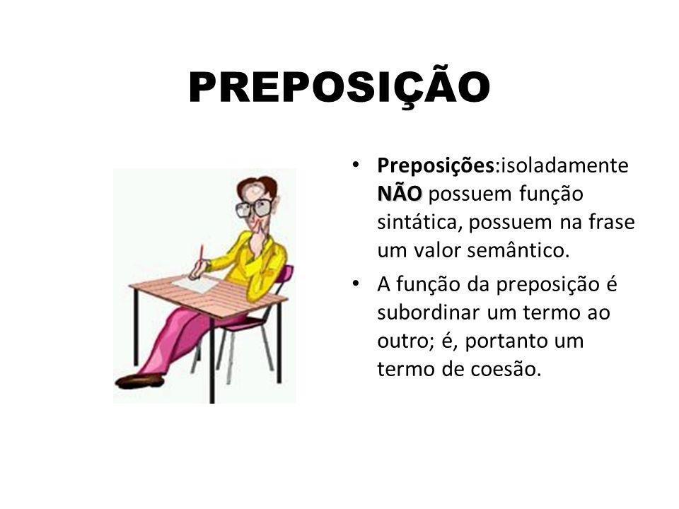 PREPOSIÇÃO Preposições:isoladamente NÃO possuem função sintática, possuem na frase um valor semântico.