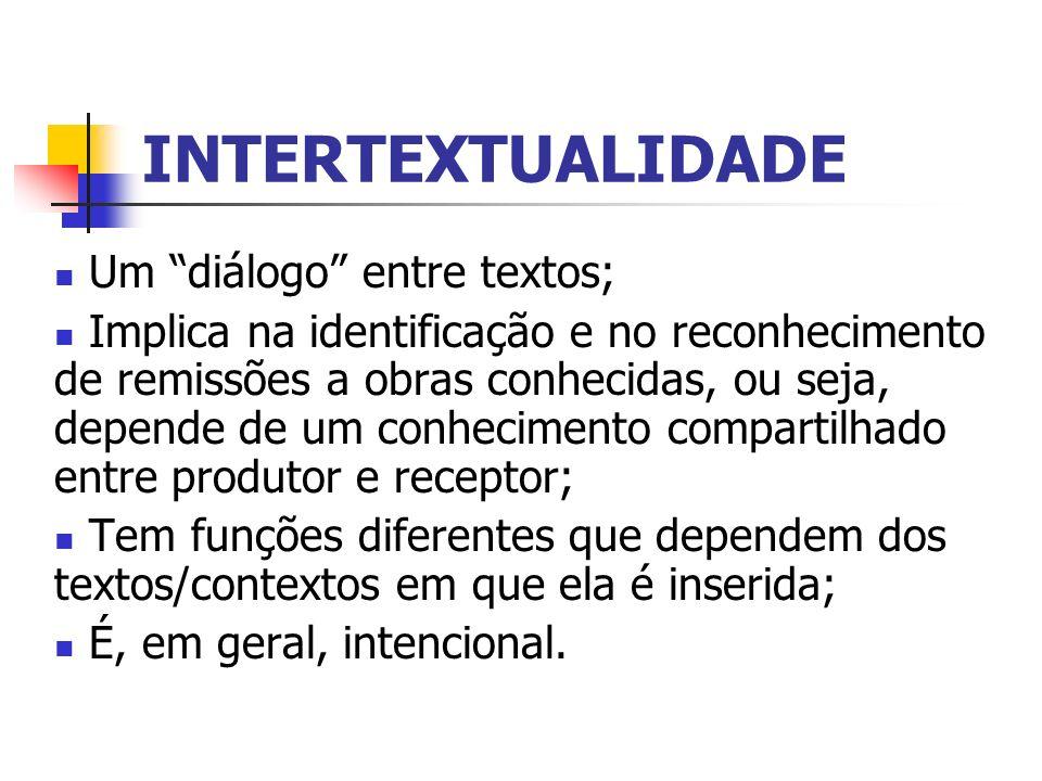 INTERTEXTUALIDADE Um diálogo entre textos;