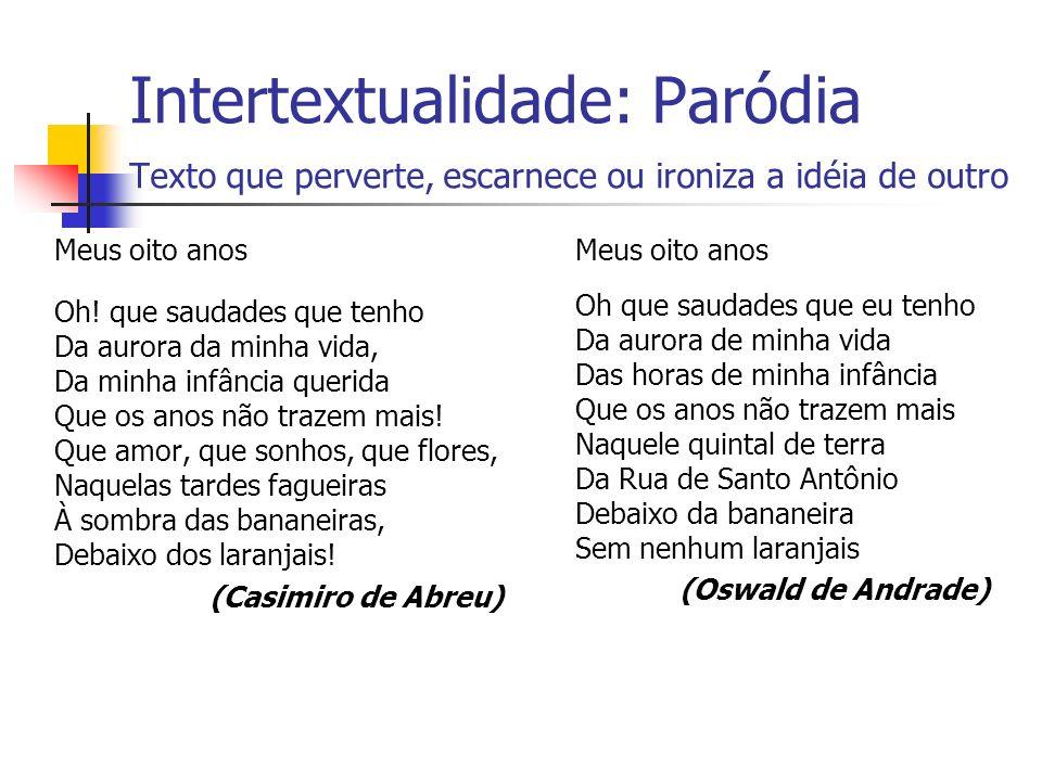 Intertextualidade: Paródia Texto que perverte, escarnece ou ironiza a idéia de outro