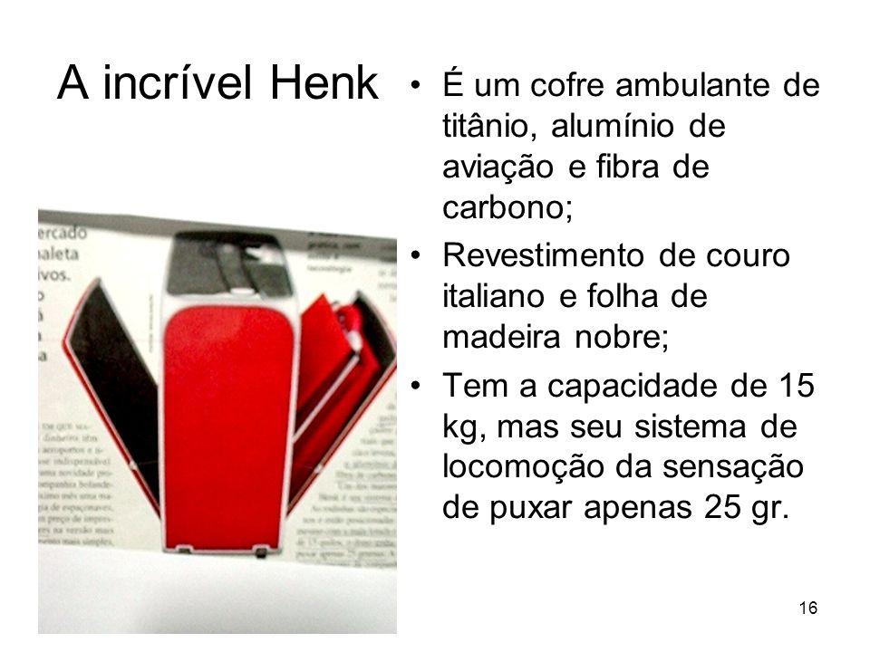 A incrível Henk É um cofre ambulante de titânio, alumínio de aviação e fibra de carbono; Revestimento de couro italiano e folha de madeira nobre;