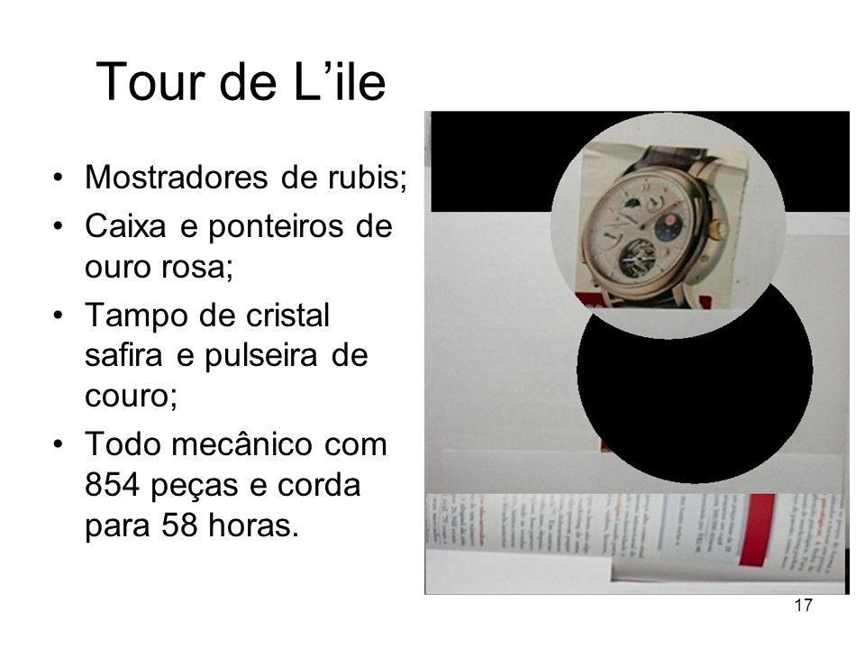 Tour de L'ile Mostradores de rubis; Caixa e ponteiros de ouro rosa;