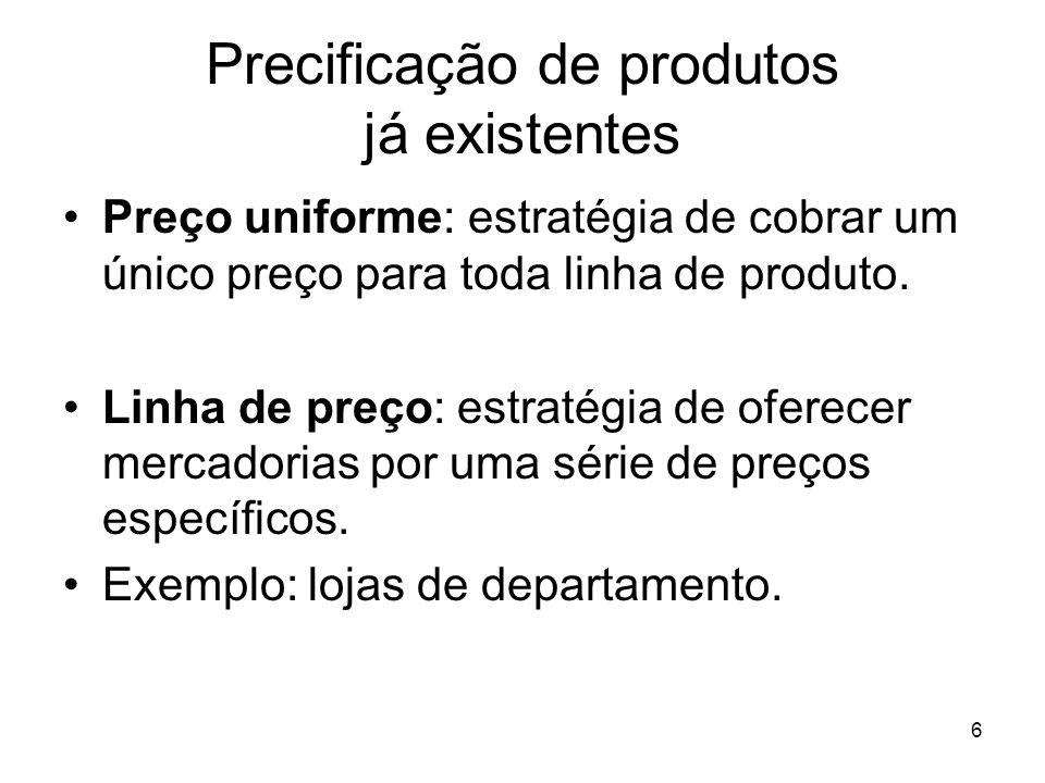 Precificação de produtos já existentes
