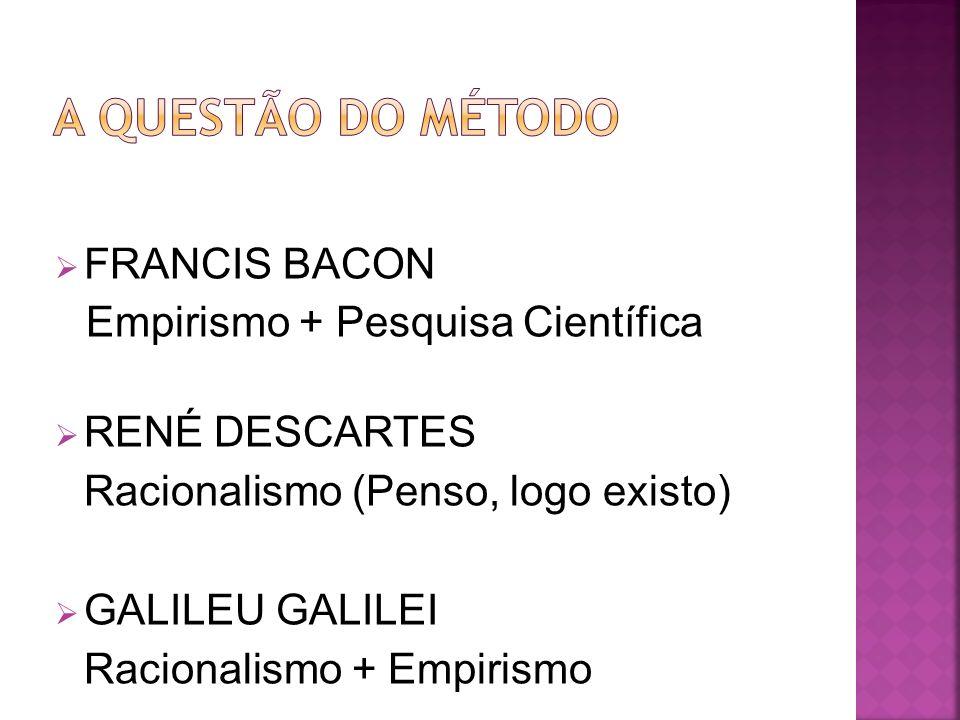 A QUESTÃO DO MÉTODO FRANCIS BACON Empirismo + Pesquisa Científica