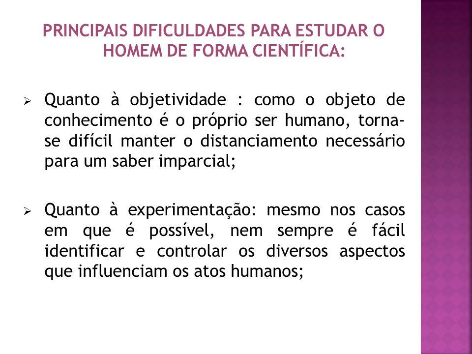 PRINCIPAIS DIFICULDADES PARA ESTUDAR O HOMEM DE FORMA CIENTÍFICA:
