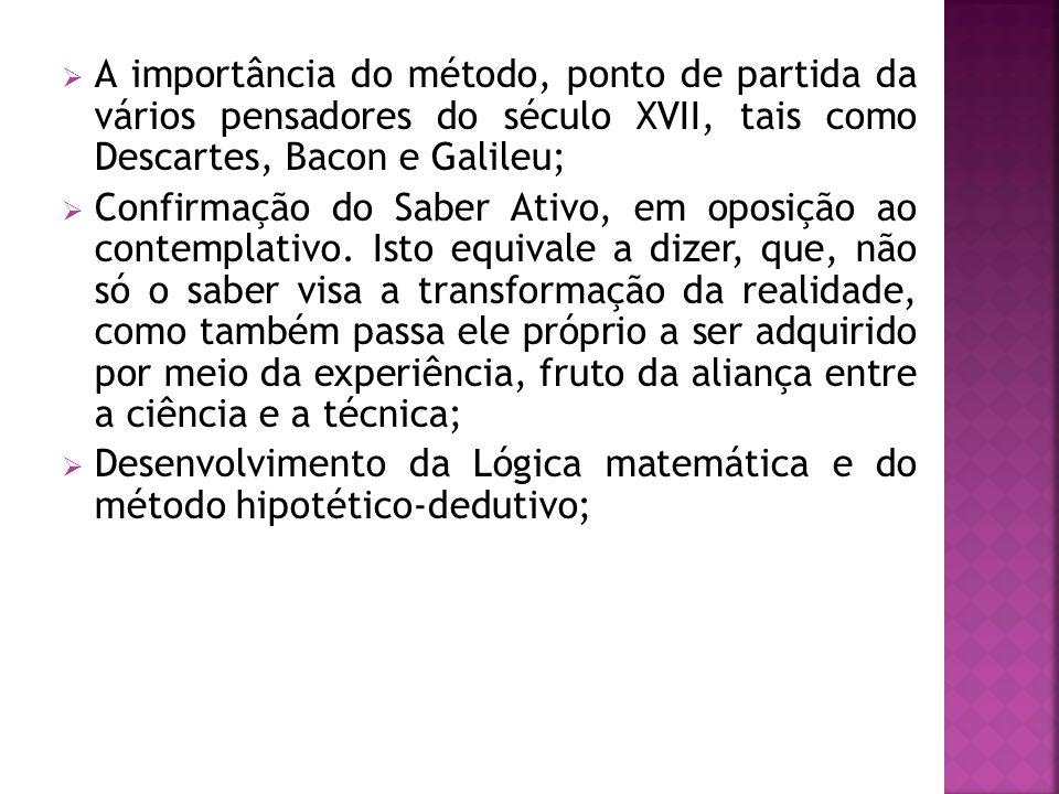 A importância do método, ponto de partida da vários pensadores do século XVII, tais como Descartes, Bacon e Galileu;