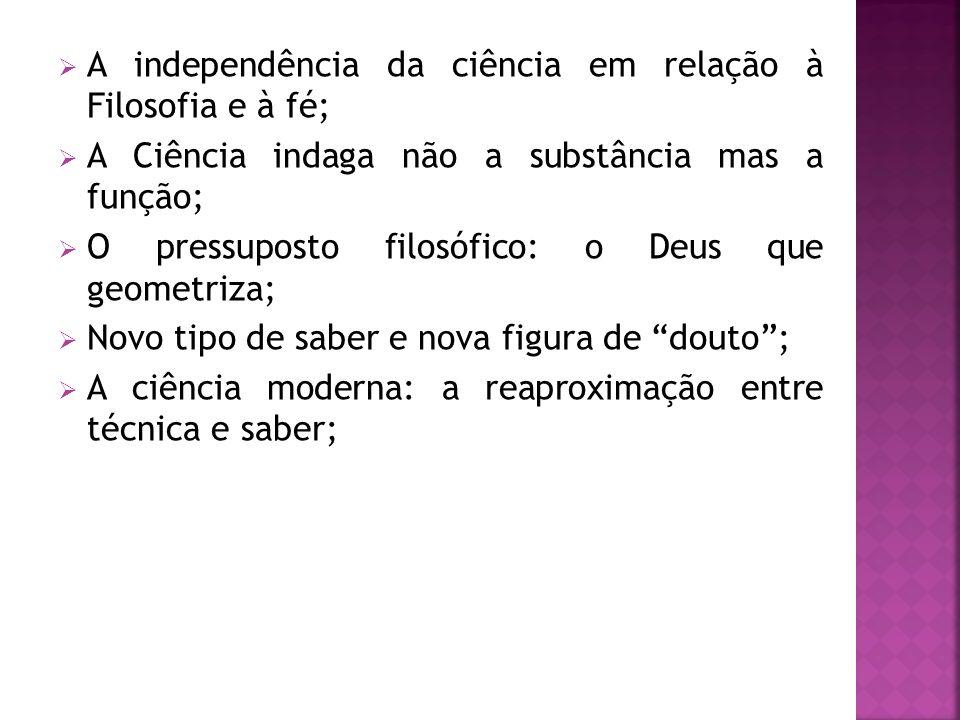 A independência da ciência em relação à Filosofia e à fé;