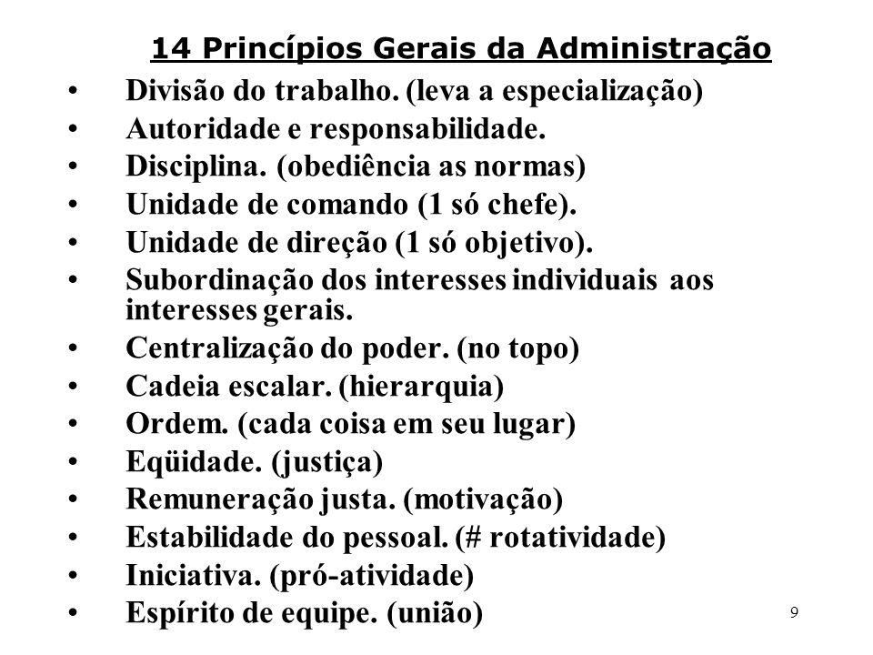 14 Princípios Gerais da Administração