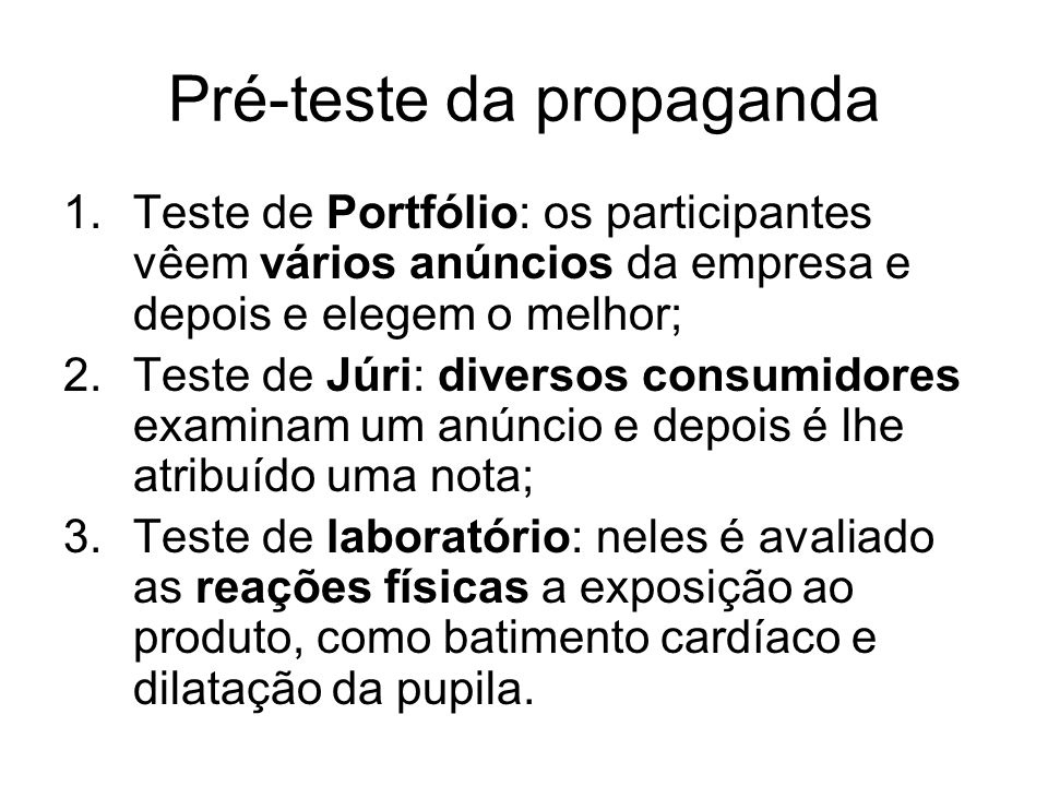 Pré-teste da propaganda