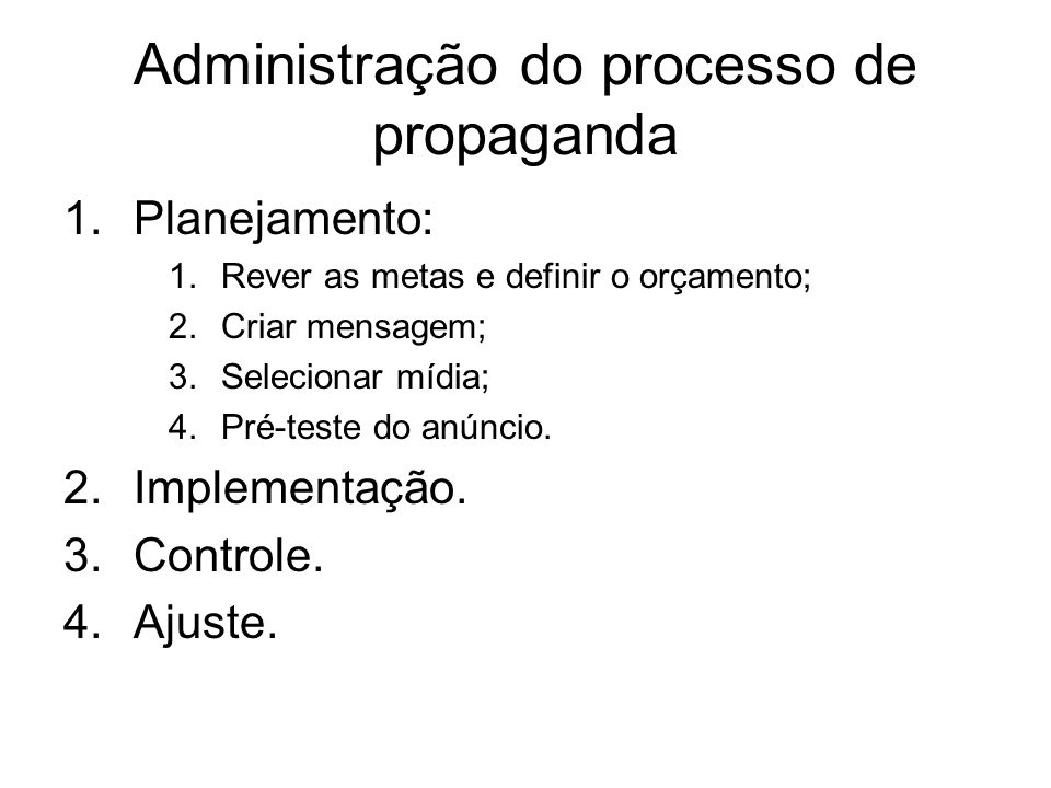 Administração do processo de propaganda