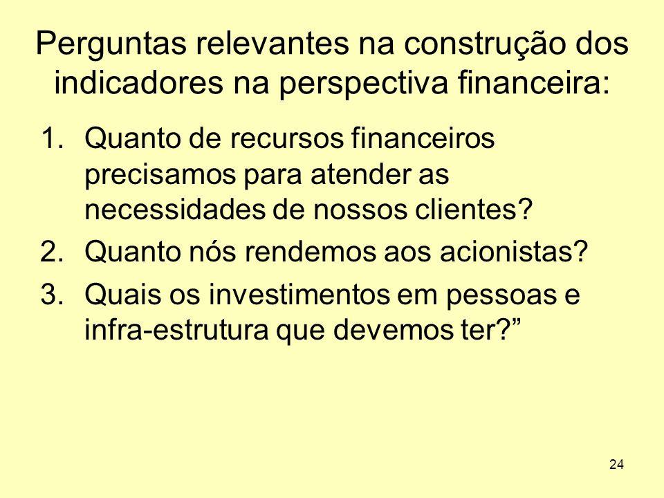 Perguntas relevantes na construção dos indicadores na perspectiva financeira: