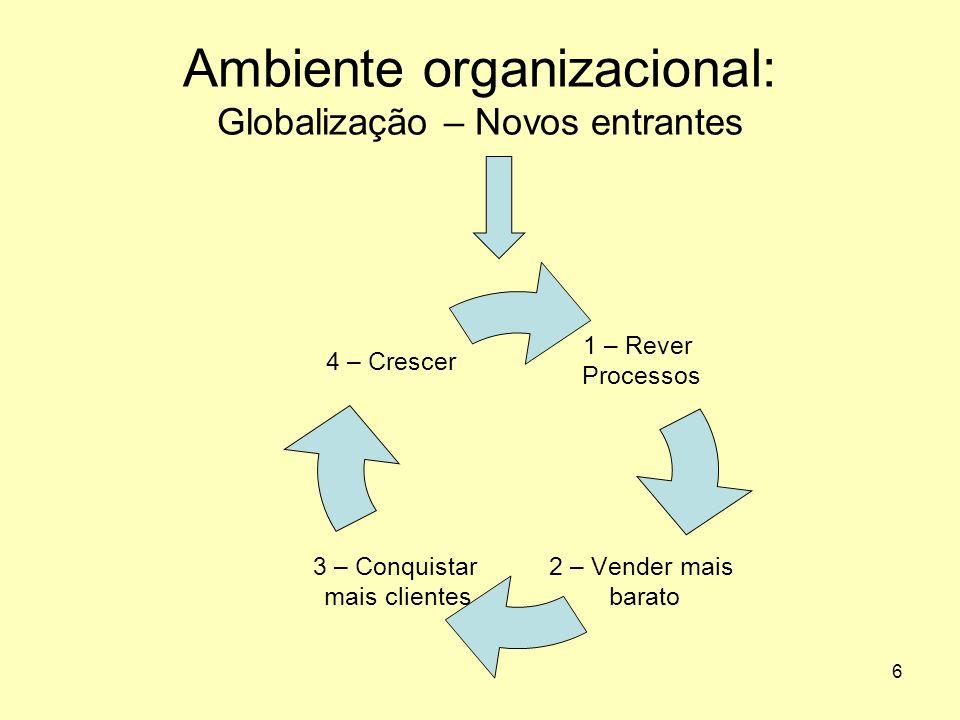 Ambiente organizacional: Globalização – Novos entrantes