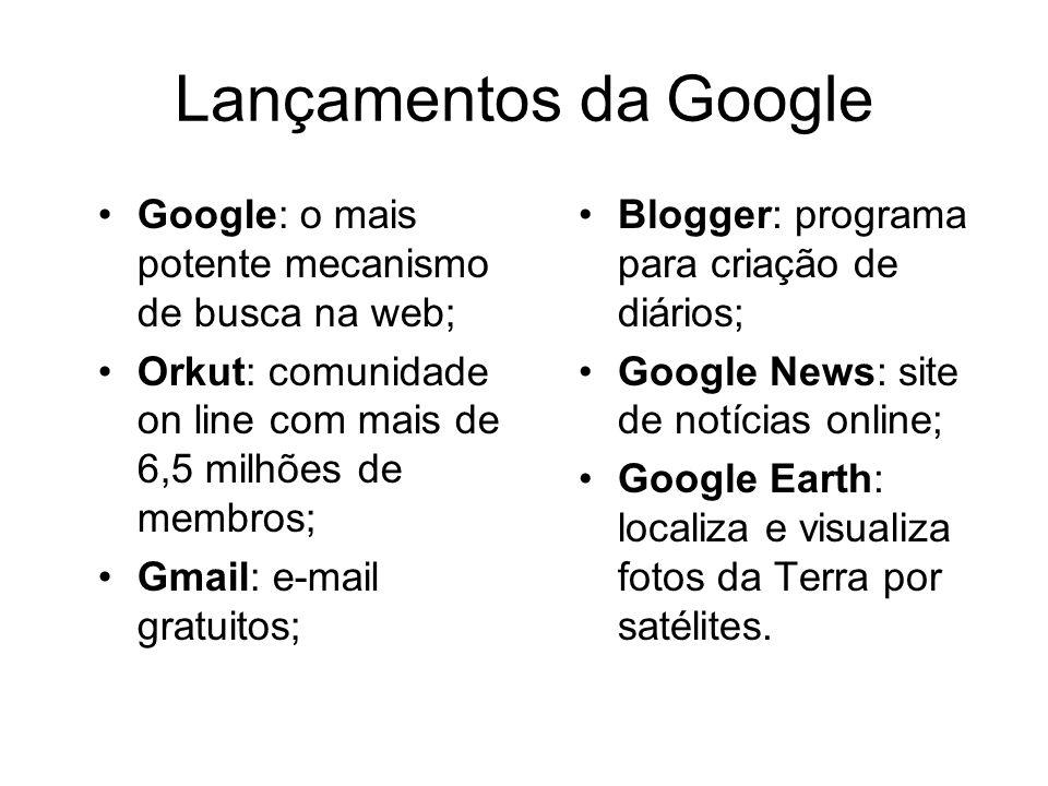 Lançamentos da Google Google: o mais potente mecanismo de busca na web; Orkut: comunidade on line com mais de 6,5 milhões de membros;