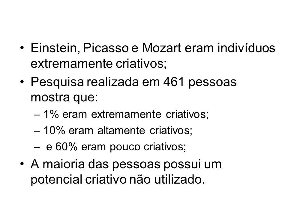 Einstein, Picasso e Mozart eram indivíduos extremamente criativos;