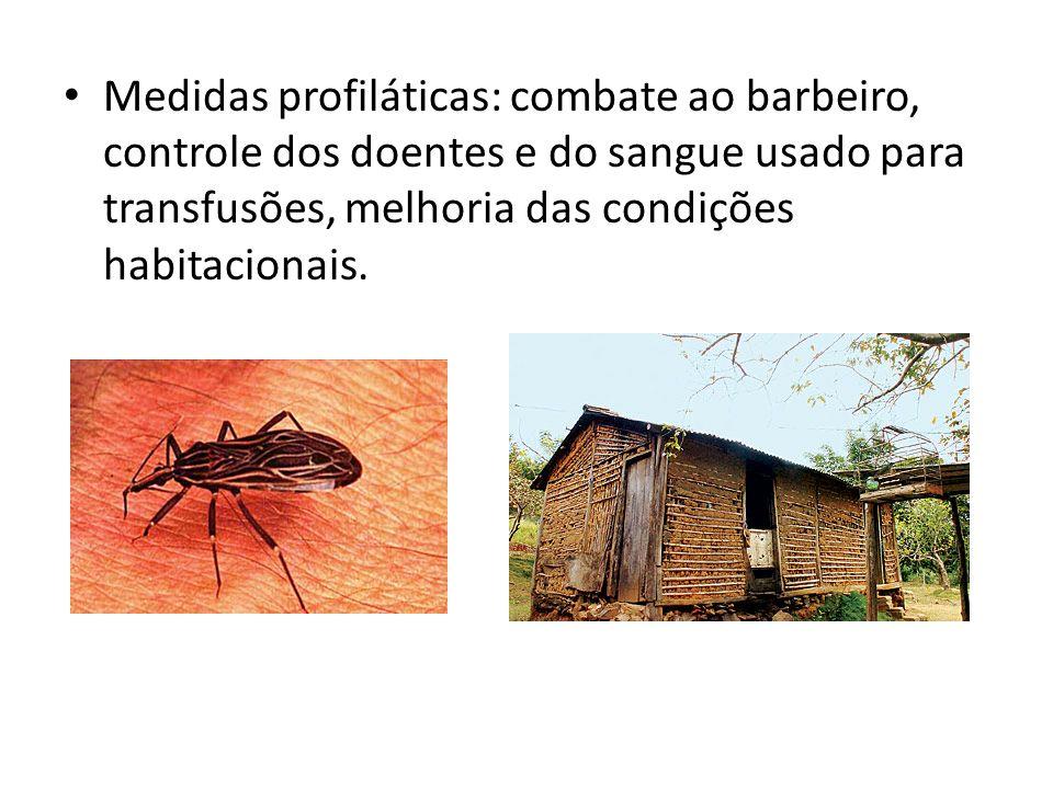 Medidas profiláticas: combate ao barbeiro, controle dos doentes e do sangue usado para transfusões, melhoria das condições habitacionais.