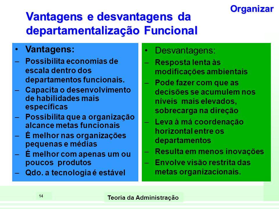 Vantagens e desvantagens da departamentalização Funcional