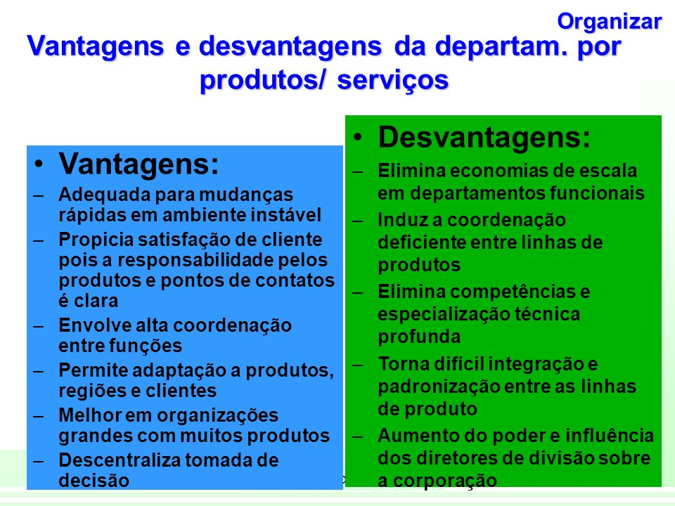 Vantagens e desvantagens da departam. por produtos/ serviços