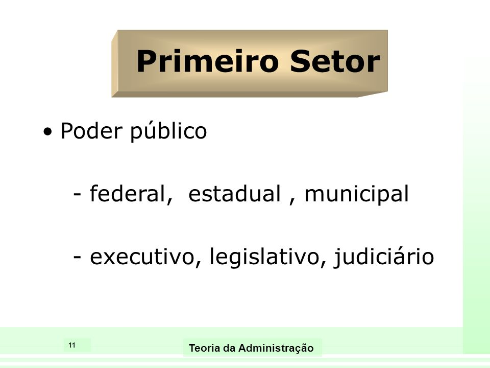 Primeiro Setor Poder público - federal, estadual , municipal