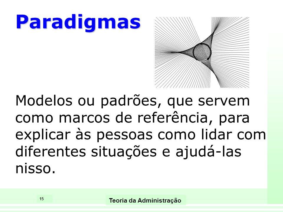 Paradigmas Modelos ou padrões, que servem como marcos de referência, para explicar às pessoas como lidar com diferentes situações e ajudá-las nisso.
