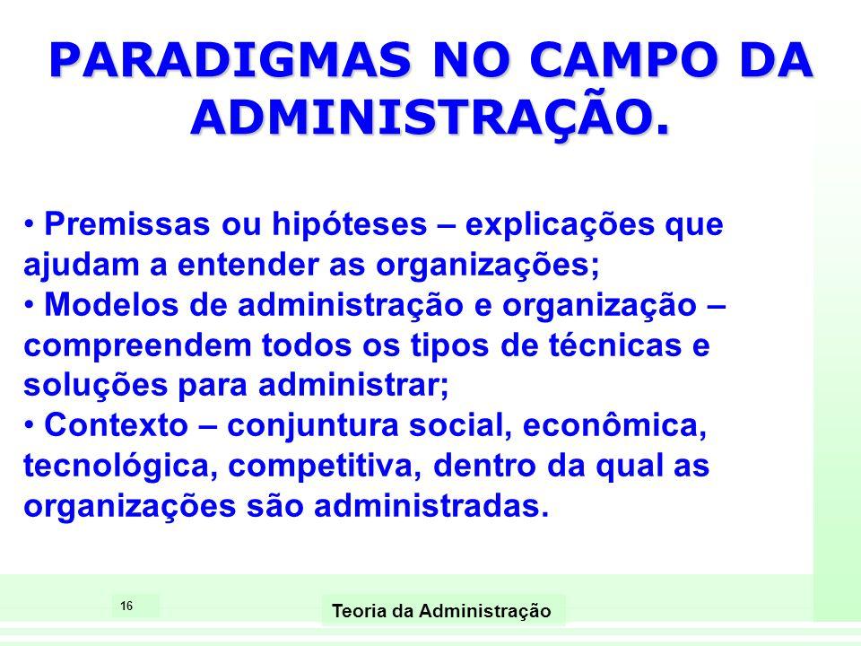PARADIGMAS NO CAMPO DA ADMINISTRAÇÃO.
