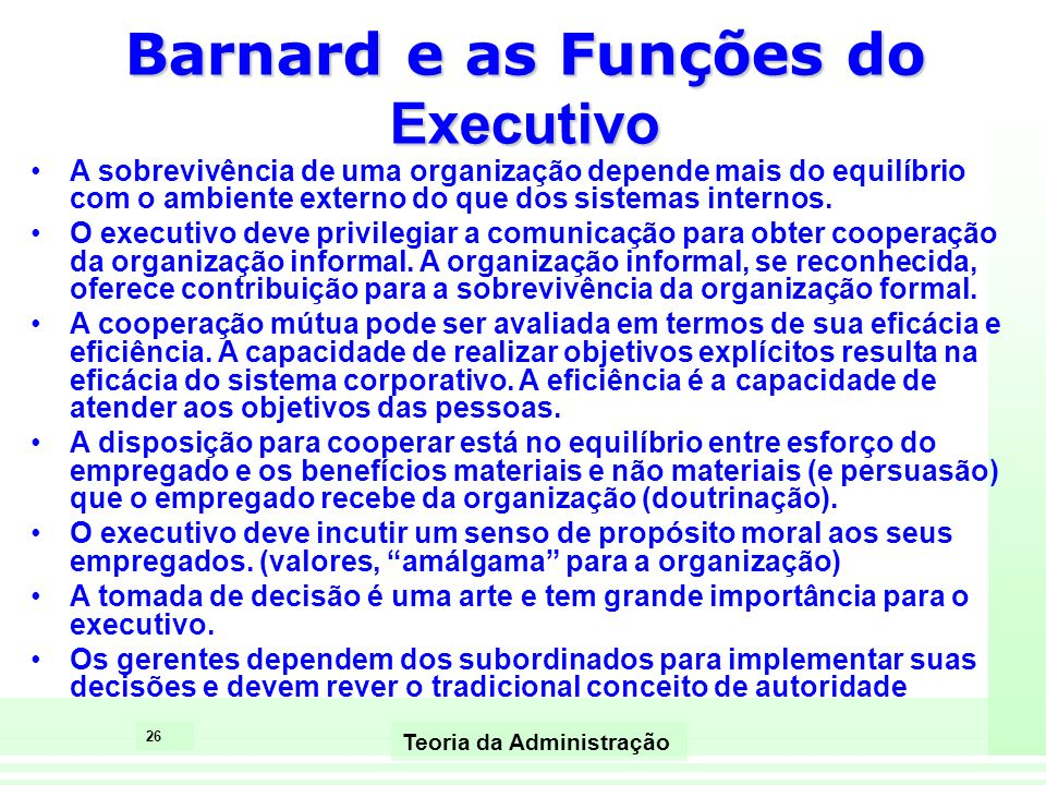 Barnard e as Funções do Executivo