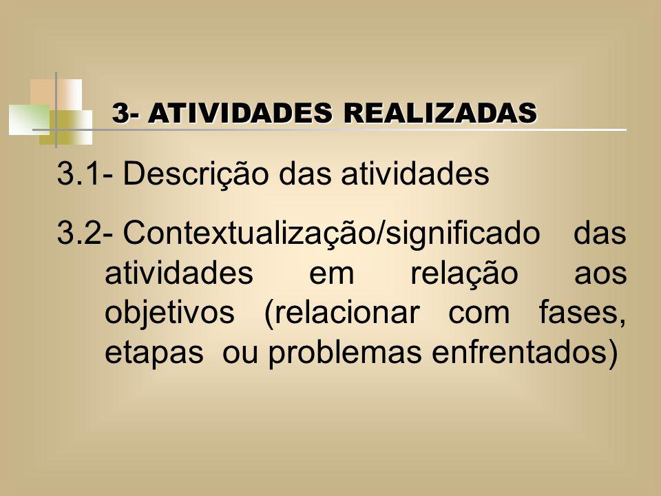3.1- Descrição das atividades