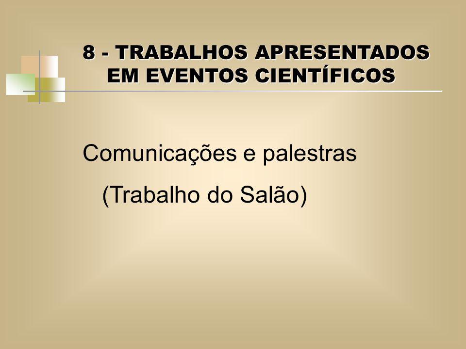 Comunicações e palestras (Trabalho do Salão)