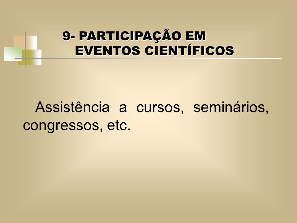 Assistência a cursos, seminários, congressos, etc.