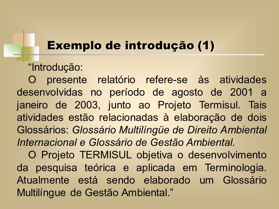 Exemplo de introdução (1)