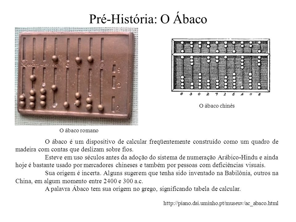 Pré-História: O ÁbacoO ábaco chinês. O ábaco romano.