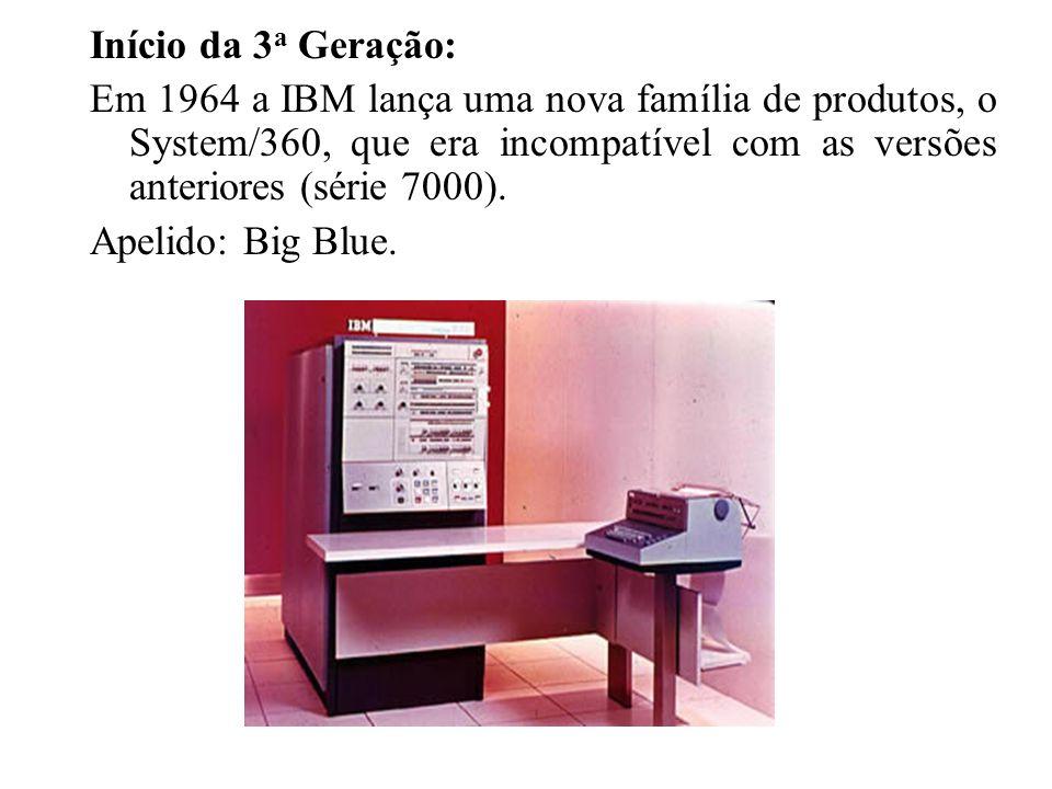 Início da 3a Geração: Em 1964 a IBM lança uma nova família de produtos, o System/360, que era incompatível com as versões anteriores (série 7000).