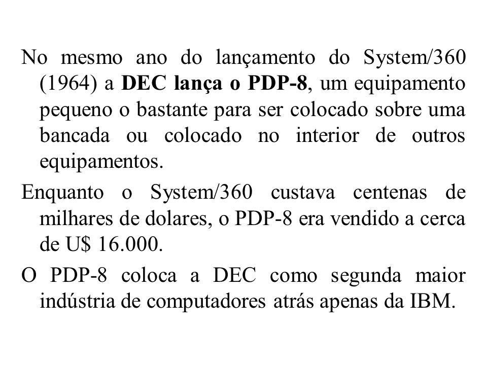 No mesmo ano do lançamento do System/360 (1964) a DEC lança o PDP-8, um equipamento pequeno o bastante para ser colocado sobre uma bancada ou colocado no interior de outros equipamentos.