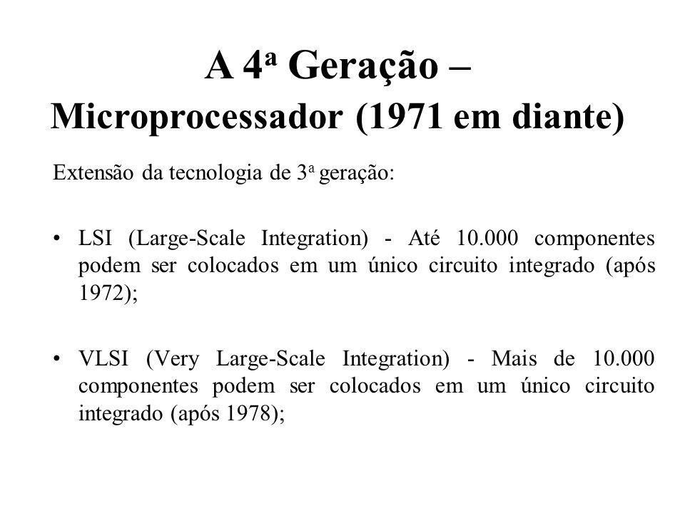 A 4a Geração – Microprocessador (1971 em diante)