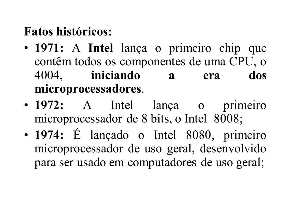 Fatos históricos: 1971: A Intel lança o primeiro chip que contêm todos os componentes de uma CPU, o 4004, iniciando a era dos microprocessadores.
