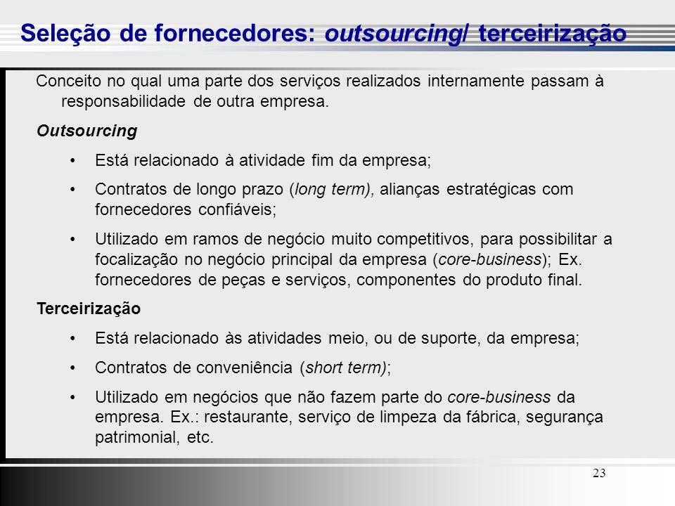 Seleção de fornecedores: outsourcing/ terceirização