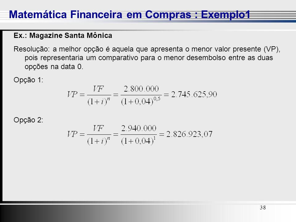 Matemática Financeira em Compras : Exemplo1