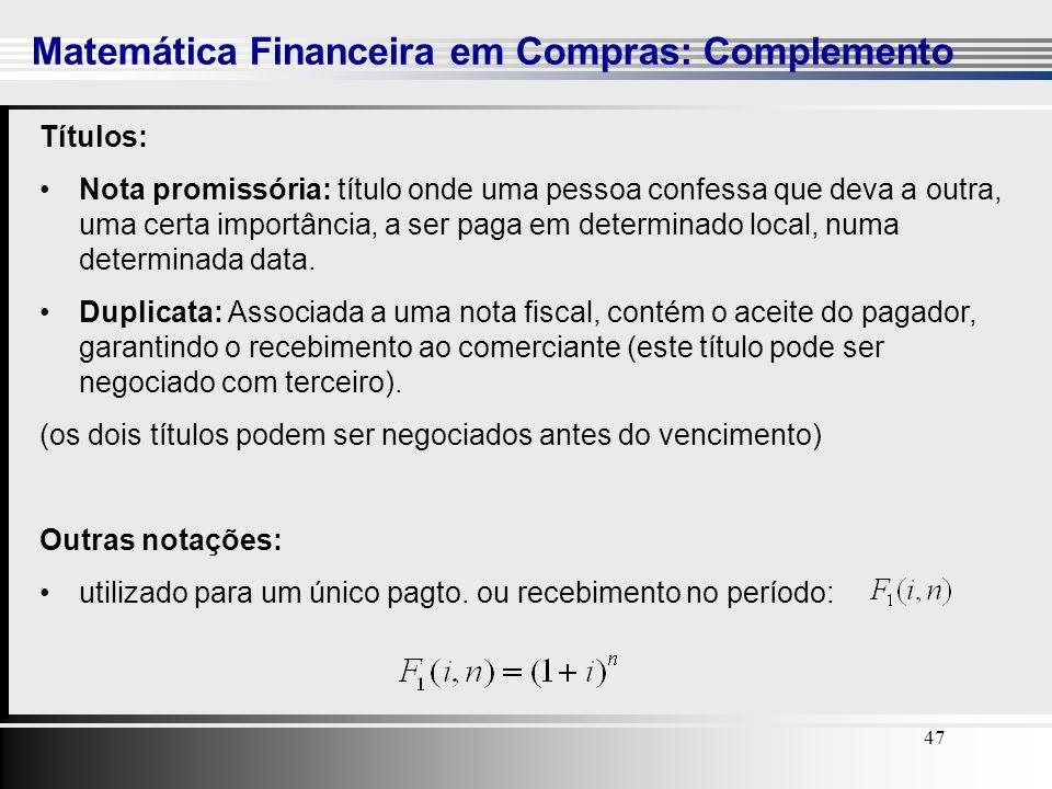 Matemática Financeira em Compras: Complemento