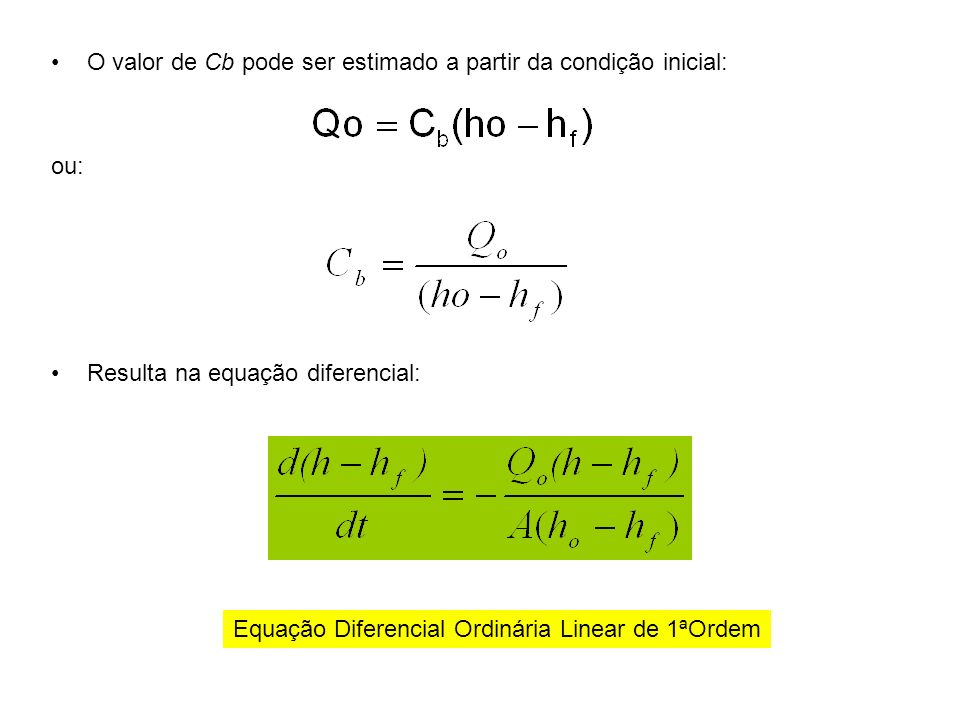 O valor de Cb pode ser estimado a partir da condição inicial: