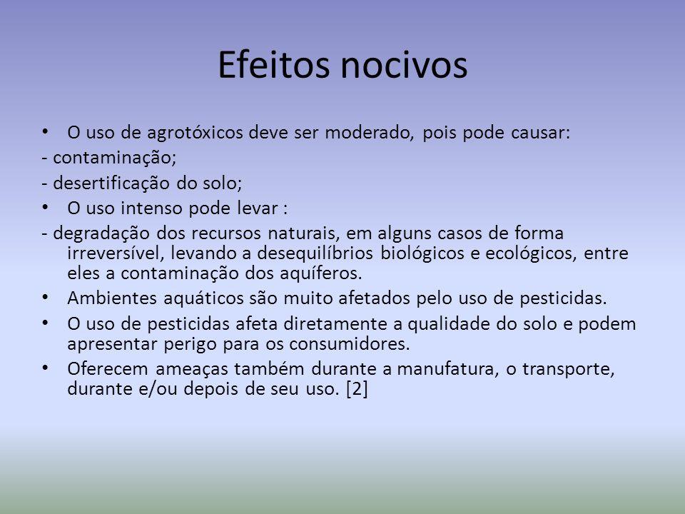 Efeitos nocivosO uso de agrotóxicos deve ser moderado, pois pode causar: - contaminação; - desertificação do solo;