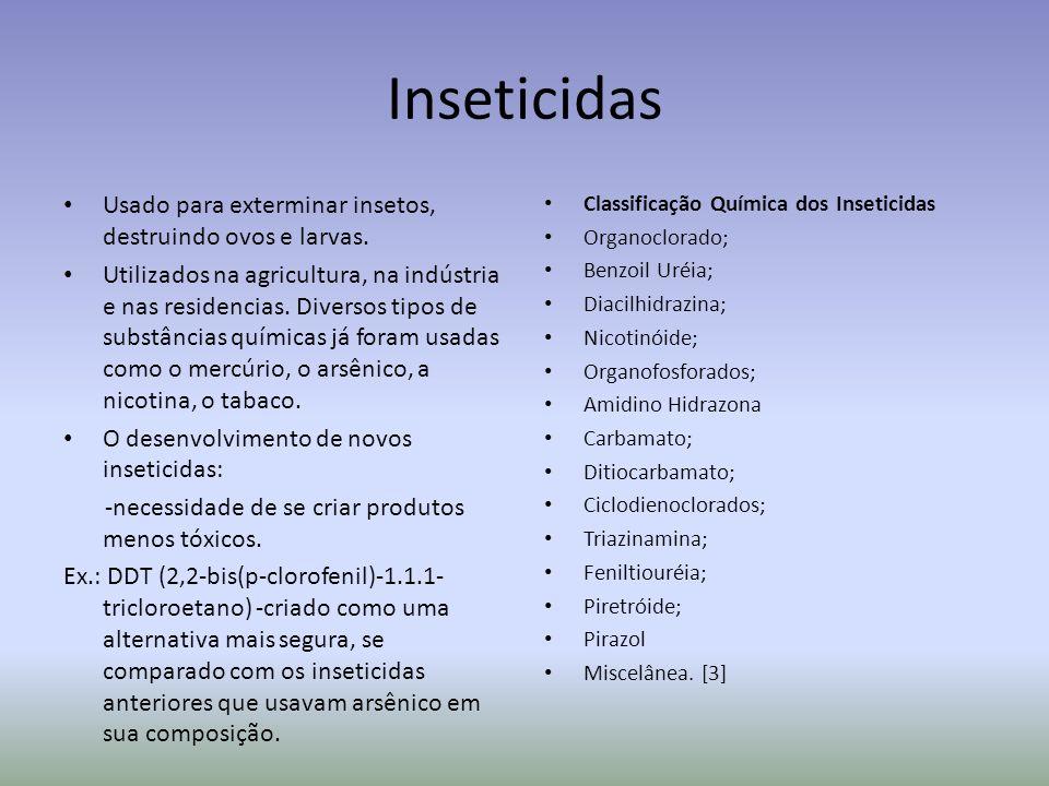 Inseticidas Usado para exterminar insetos, destruindo ovos e larvas.