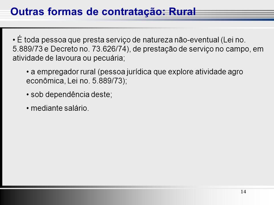 Outras formas de contratação: Rural