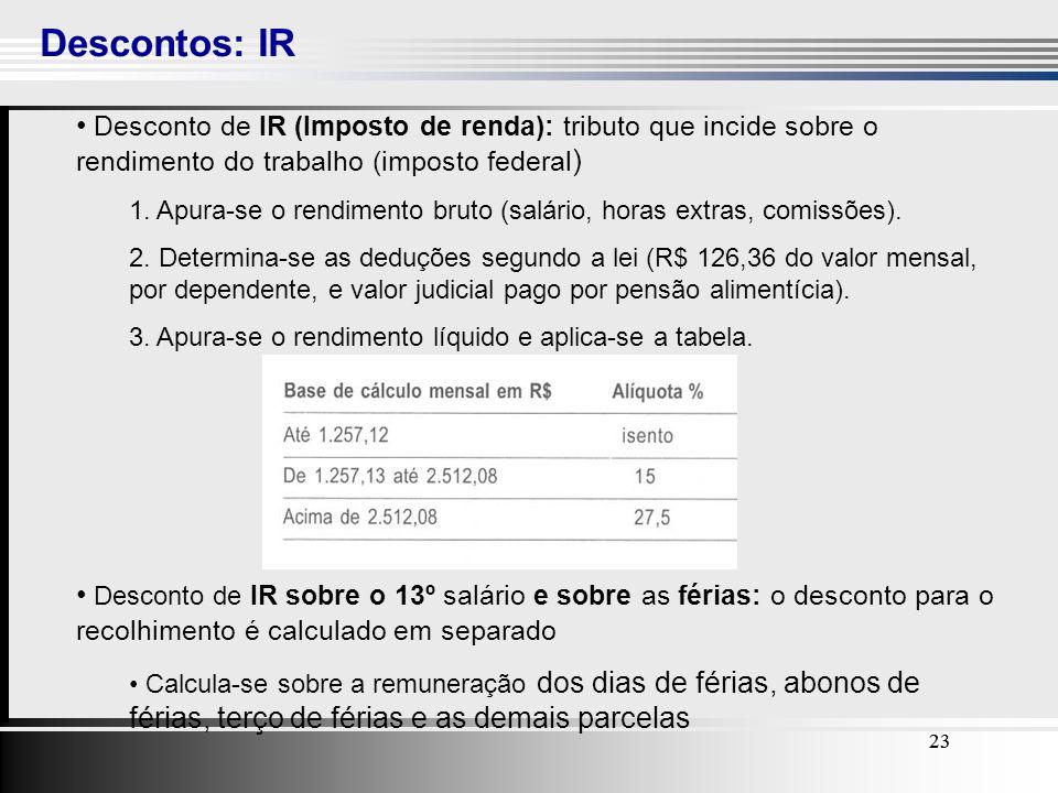 Descontos: IR Desconto de IR (Imposto de renda): tributo que incide sobre o rendimento do trabalho (imposto federal)