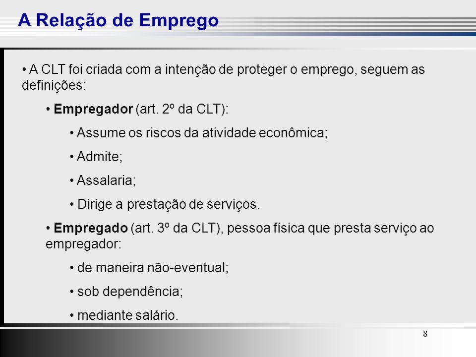 A Relação de Emprego A CLT foi criada com a intenção de proteger o emprego, seguem as definições: Empregador (art. 2º da CLT):