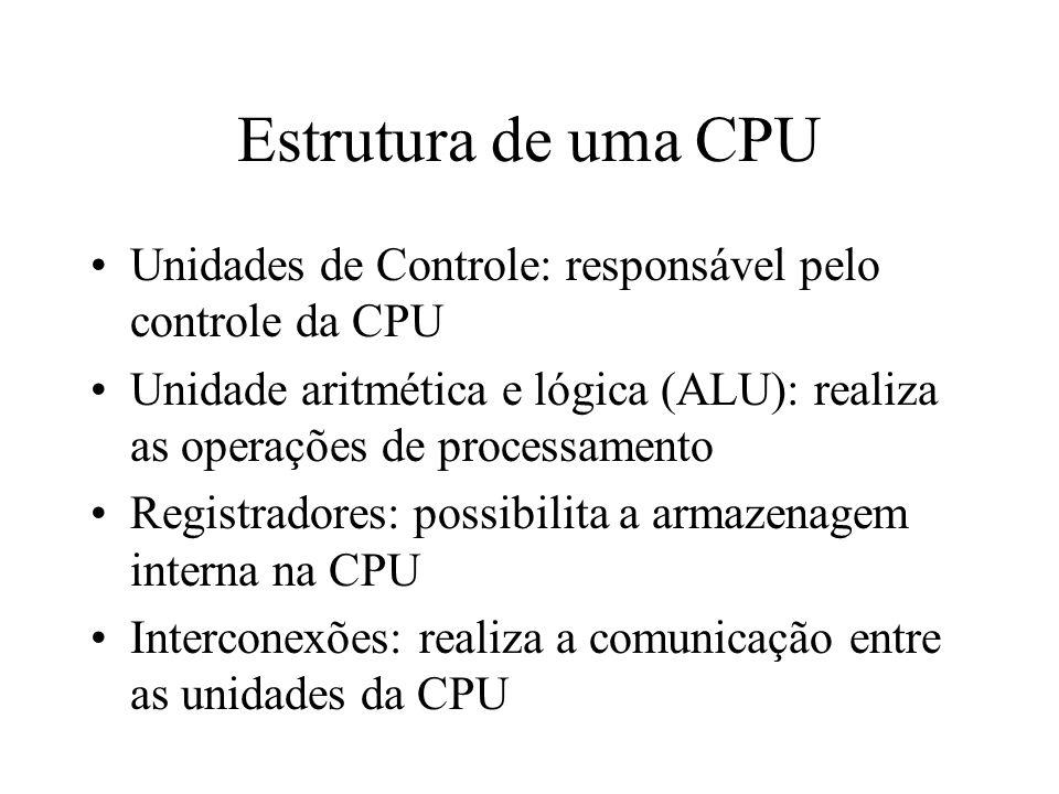 Estrutura de uma CPUUnidades de Controle: responsável pelo controle da CPU. Unidade aritmética e lógica (ALU): realiza as operações de processamento.