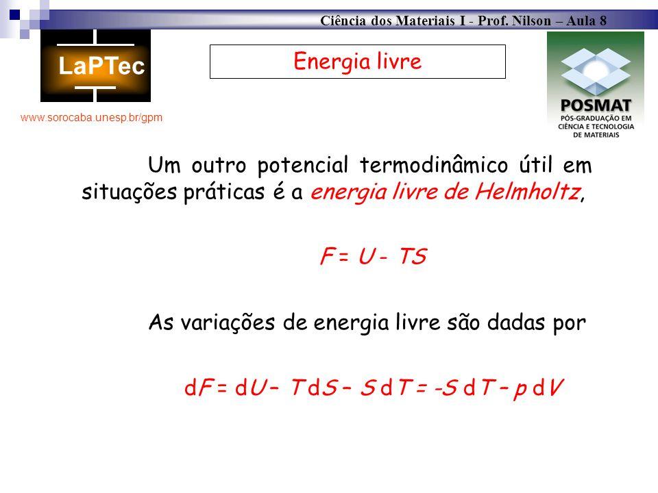Energia livre Um outro potencial termodinâmico útil em situações práticas é a energia livre de Helmholtz,