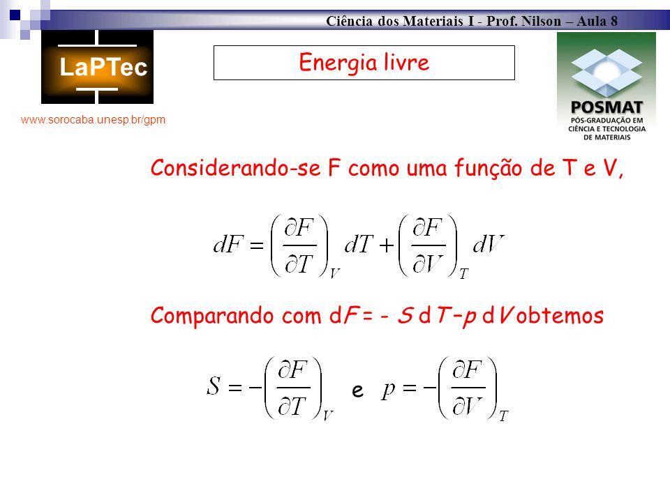 Energia livre Considerando-se F como uma função de T e V, Comparando com dF = - S dT –p dV obtemos.