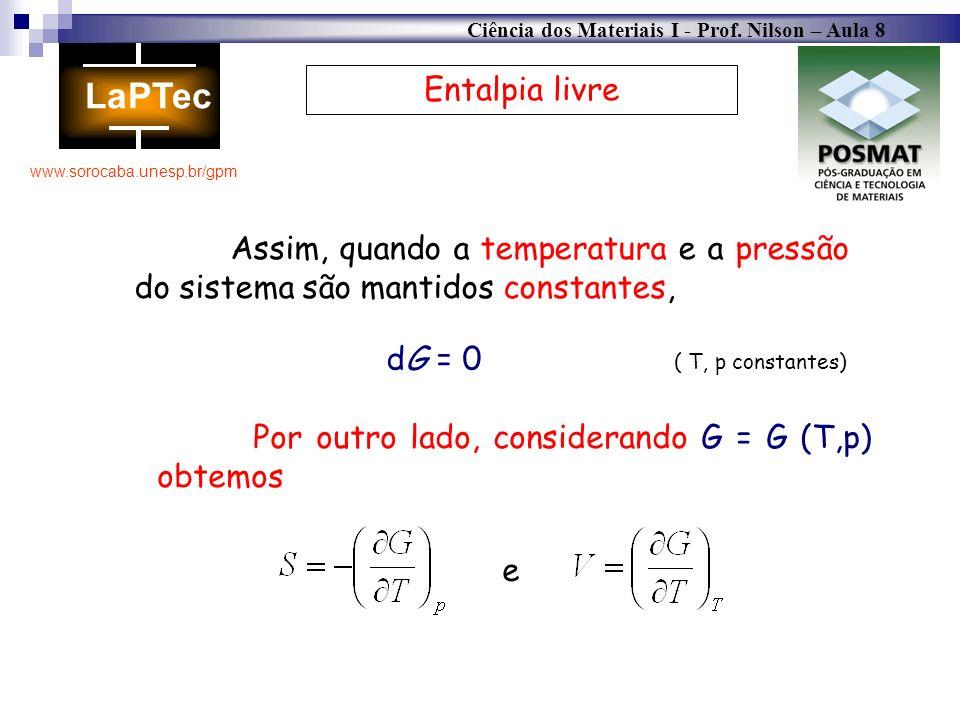 Entalpia livre Assim, quando a temperatura e a pressão do sistema são mantidos constantes, dG = 0 ( T, p constantes)