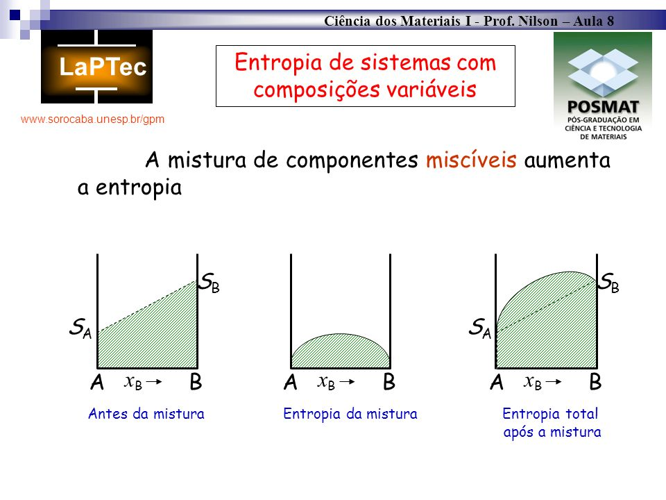 Entropia de sistemas com composições variáveis
