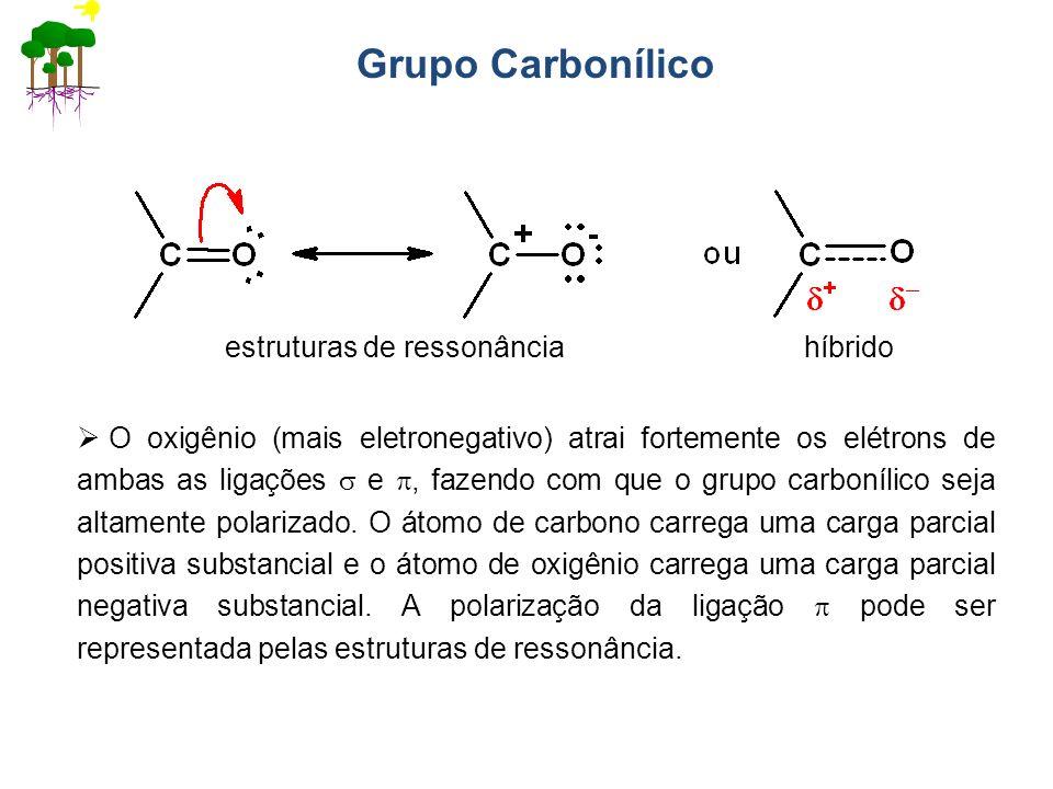 Grupo Carbonílico estruturas de ressonância híbrido