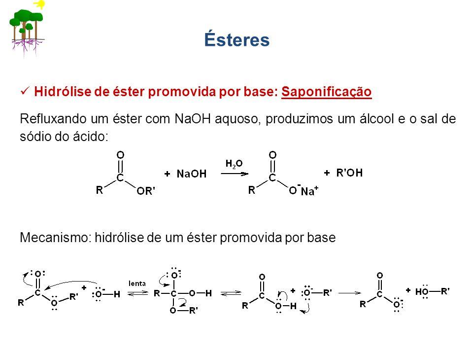 Ésteres Hidrólise de éster promovida por base: Saponificação