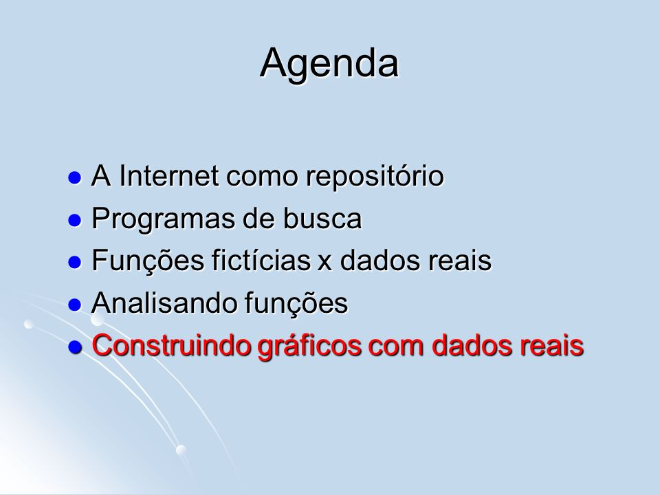 Agenda A Internet como repositório Programas de busca